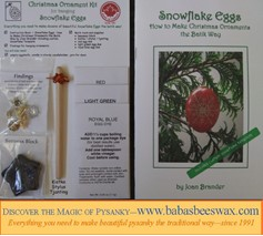 Christmas Ornament Kit for hanging Snowflake Eggs from BabasBeeswax.com